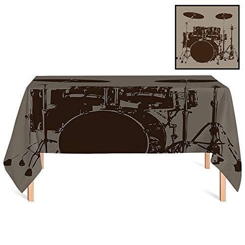 Bass Drum Heavyweight - SATVSHOP Tablecloth Heavyweight /60x120 Rectangular,Music Grunge Drum Kit for Bass Rythm Lovers Ba Dum TSS Image Sketchy Art Purple Grey and Black.for Wedding/Banquet/Restaurant.