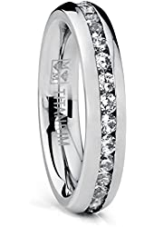 4MM High Polish Ladies Eternity Titanium Ring Wedding Band with CZ Sizes 4 to 9