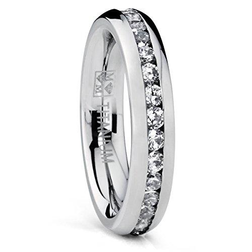 4MM High Polish Ladies Eternity Titanium Ring Wedding Band with CZ Sizes 4 to 9 Bonndorf