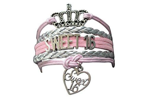 Infinity Collection Sweet 16 Charm Bracelet- Girls Sweet Sixteen Jewelry, Pink Sweet 16 Birthday Bracelet, -