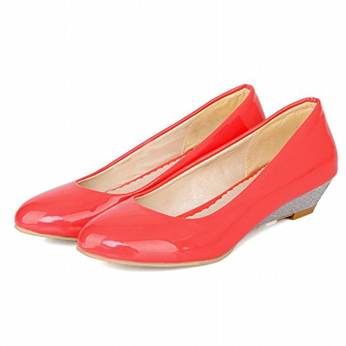 Sweet Women's Carol Low Pumps Shoes Heel Wedge Cute Red Shoes qUR4gt