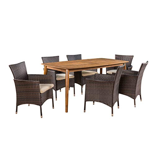 Teak Rectangular Dining Set Table (Great Deal Furniture Matthew Outdoor 7 Piece Multibrown Wicker Dining Set with Teak Finish Rectangular Acacia Wood Dining Table and Beige Water Resistant Cushions)