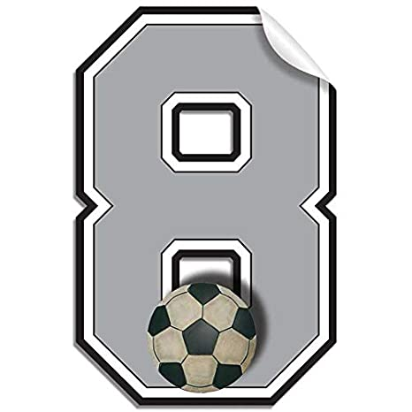 decoración de la habitación temática de fútbol Pared Nmeros Adhesivos Baln De Ftbol Jersey Nmero