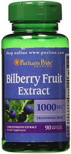 Puritan's Pride Bilberry 4 1 Extract 1000 mg-90 Softgel