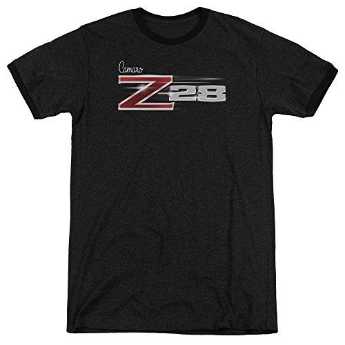 New Camaro Z28 - Chevy Z28 Logo Mens Adult Heather Ringer Shirt Black Lg