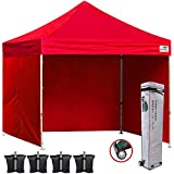 Eurmax 10x10 Ez Pop Up Canopy Outdoor Canopy Instant Canopies with 4 Zipper Sidewalls and Roller Bag,Bouns 4 Weight Bags (Red)
