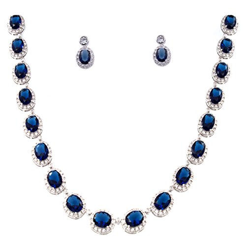Sapphire Jewelry Cubic Zirconia (Lavencious Tennis Oval Necklace & Earrings Jewelry Set AAA Cubic Zirconia Rhodium Plated Sapphire (Blue))