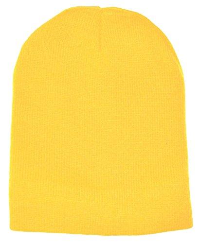 "MG Boys Yellow Plain Short Cuffless Beanie Skull Cap Ski Skate Hat 8""long from Kokuko"
