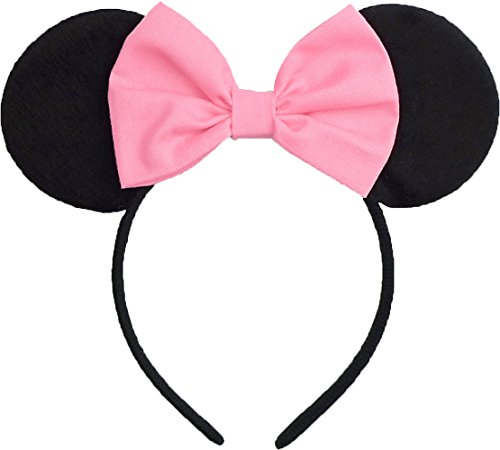Pink Minnie Ears (Minnie Mouse Ears Inspired Candy Pink Hair Bow Headband Women Girls Mickey Birthday Party Theme Outfit by Sweet in the City)
