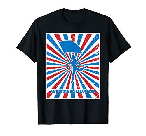 Vintage Winter Guard Spinner Red White Blue Stripes Sunburst T-Shirt