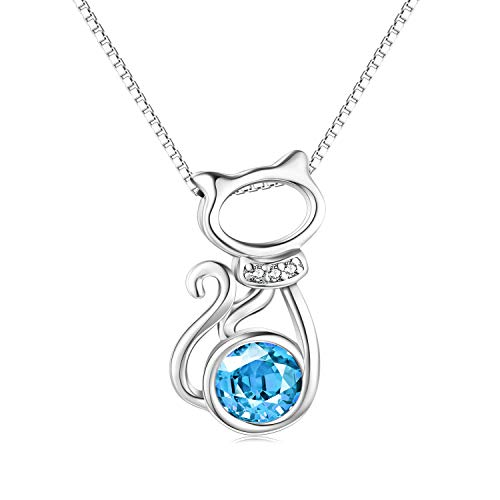 AOBOCO Sterling Silver Cat Pendant Necklaces with Swarovski Crystals Pink Jewelry Gifts for Women Girls (Blue) ()