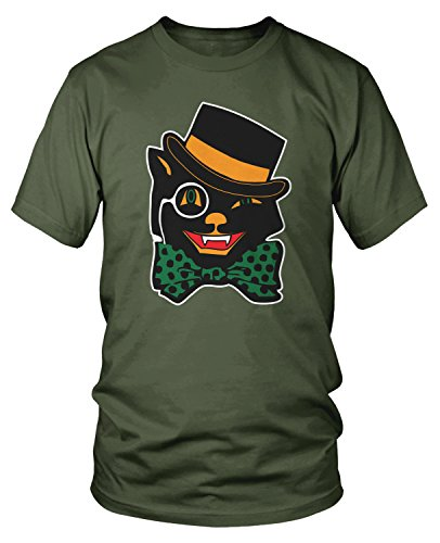 Amdesco Men's Black Cat, Cheap Easy Halloween Costume T-shirt, Moss Green Large