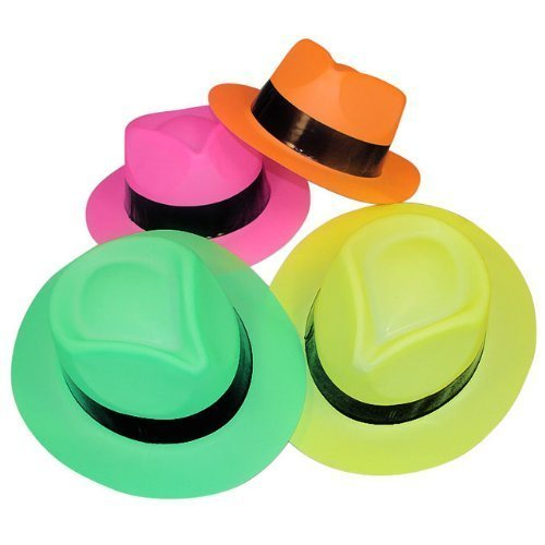Tytroy Set of 12 Neon Color Plastic Fedora Gangster Party Hats Costume ()
