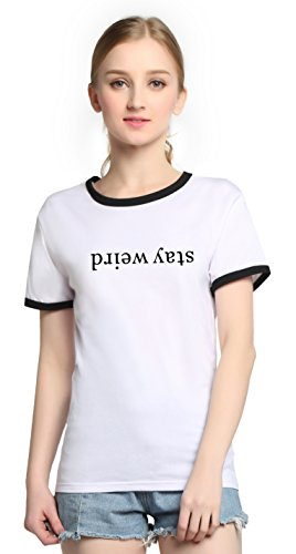 PINJIA Womens Cute Letter Printed Graphic Funny Tshirts Top Tees(MX15)(L, White Stay...