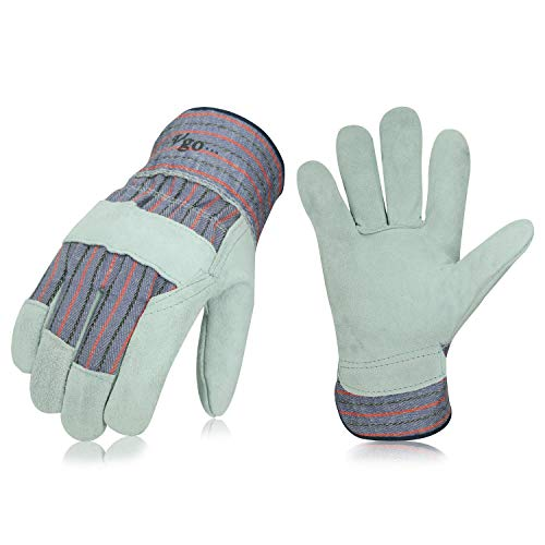 Vgo 3Pairs Cow Split Leather Men's Work Gloves with Safety Cuff (Size L,Plaid,CB3501)