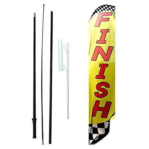 IRIS Swooper Flag with Ground Spike Kit & Swooper Pole Kit perfect Finish (15' (Finish Flags)