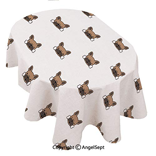 Elegance Plaid Contemporary Woven Solid,Dog seamless paern french bulldog ecor bone head puppy isolaed wallpaper background brown 54x72inch,Decorative Tablecloth by Polyester, No Iron, Soil Resistan