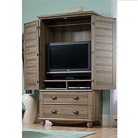 Wardrobe Cabinet Bedroom Storage Or TV Armoire In Medium Brown Oak Finish  Storage Bedroom Closet Clothes