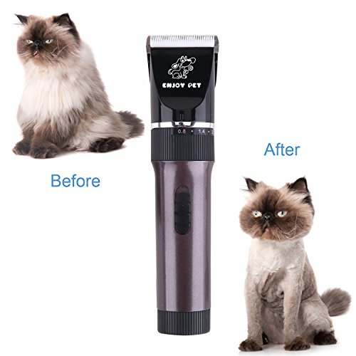 ENJOY PET Dog Clippers Cat Shaver, Professional Hair Grooming Clippers Detachable Blades Cordless Rechargeable, Pet Clipper Kit with Scissor, Combs, Guards for Dog Cat, Quiet Animal Clippers (Brown) by ENJOY PET (Image #6)