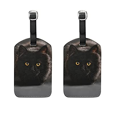PU Leather Luggage Tags Anime Suitcase Labels Bag Adjustable Leather Strap Travel Accessories Set of 2