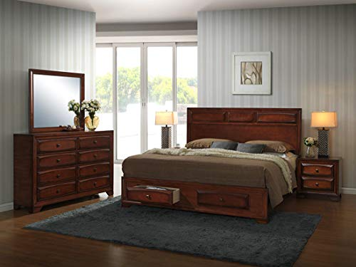 Roundhill Furniture Oakland 139 Antique Bed Room Set, King, Oak Finish (Set King Furniture Bedroom)