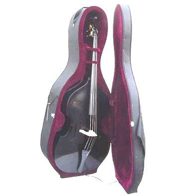 Merano 3/4 Size Black String Bass with Hard Case, Bag, Bow, 2 Sets of Strings+Music Stand+Metro Tuner