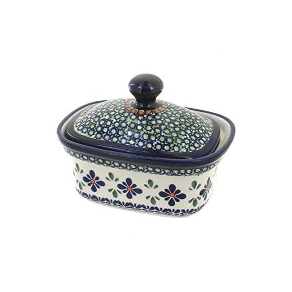 Blue Rose Polish Pottery Mosaic Flower Butter Tub