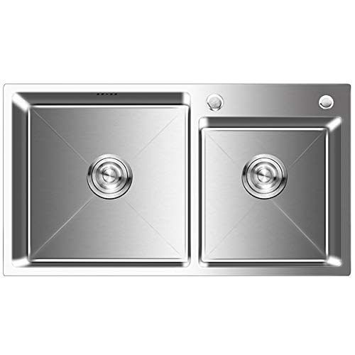 FChome Kitchen Sink Double Bowl,30.7X17 Inch Undermount Stainless Steel Kitchen Sink 3mm Thickness with Free Accessories,Brushed Nickel by FChome (Image #1)