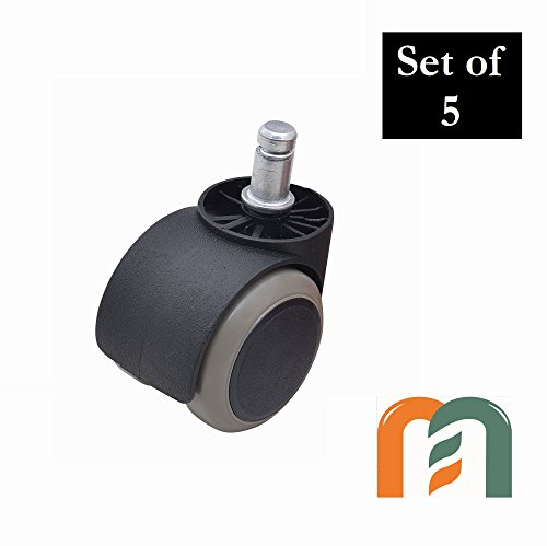 Premium Caster for Office Chair Wheel Replacement, Floor Protecting PVC Cover, 50mm Wheel Diameter, Universal Standard Size, Heavy Duty (150kgs/330lbs) by Mastery Mart (set of 5, Gray/Black)