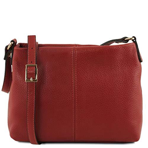 TLBag en Leather Bolso Cognac badolera Tuscany Suave Piel con Rojo ZaqwPA