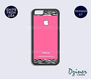iPhone 6 Case - 4.7 inch model - Pink White Zebra Pattern iPhone Cover