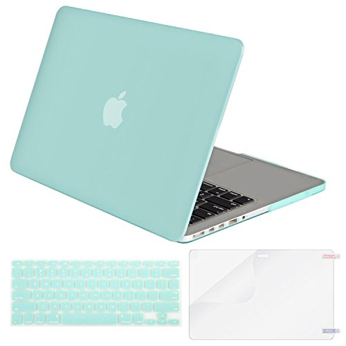 MOSISO Plastic Hard Case Shell & Keyboard Cover & Screen Protector Only Compatible [Previous Generation] MacBook Pro (No USB-C) Retina 15 Inch (Model: A1398) (No CD-ROM), Mint Green