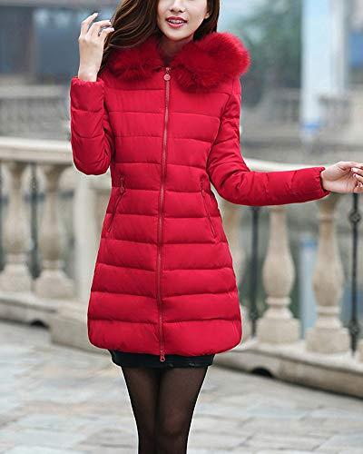 Rouge Veste Femme Capuche Longues Blouson Fausse Manteaux À Fourrure D'hiver Manche Gladiolusa Longue Rembourrée xFZwOx