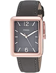 Fossil Womens ES4245 Atwater Three-Hand Gray Leather Watch