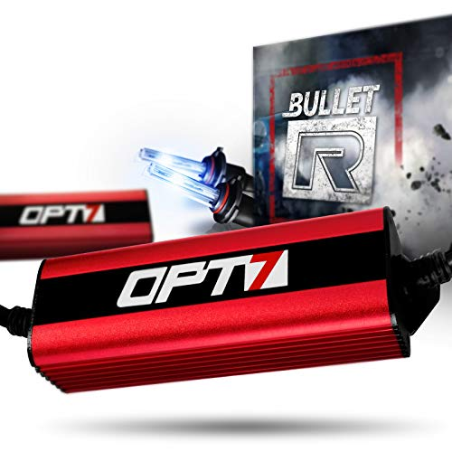 OPT7 Bullet-R 9006 HID Kit - 3X Brighter - 4X Longer Life - All Bulb Sizes and Colors - 2 Yr Warranty [6000K Lightning Blue Xenon Light]