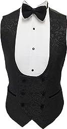 AugusWu One Button Jacquard Weave Mens Slim Fit Tuxedos Suits 2 Piece Sets Black Vest M