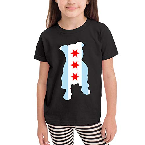 Chicago Flag in Pitbull Costume Kids Boys Girls Crew Neck Short Sleeve Shirt Tee Jersey for 2-6 Toddlers -