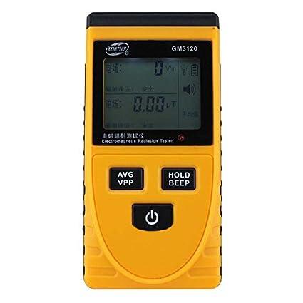 BENETECH Detector de radiacion LCD electromagnetico Medidor probador dosimetro de metro digital amarillo