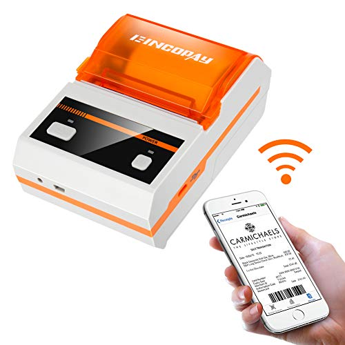 E-INCOPAY Thermal Printer,Portable Wireless Bluetooth Thermal Label Printer  with Rechargeable Battery for Restaurant,Retail,Small Business and More