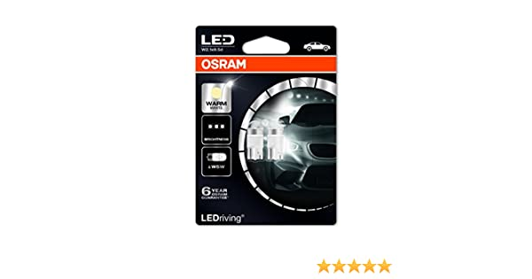 Amazon.com: OSRAM LED Premium Retrofit W2.1x9.5d, W5W, interior lights, 2850WW-02B, Warm White, 12V, double blister (Pack of 2): Automotive