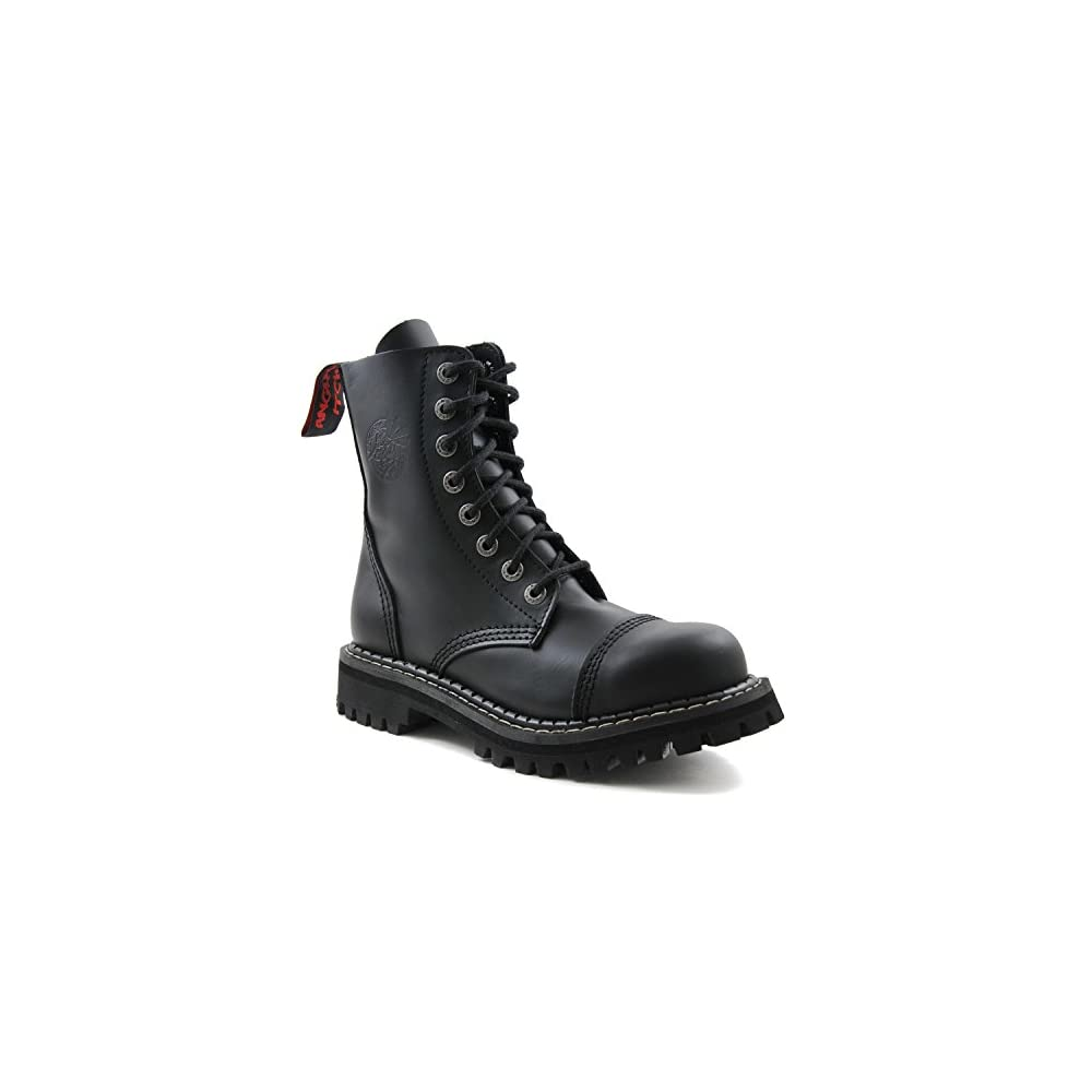 ANGRY ITCH 3-Loch Gothic Punk Army Ranger Armee Schwarze Leder Schuhe mit Stahlkappe 36-48 Made in EU!