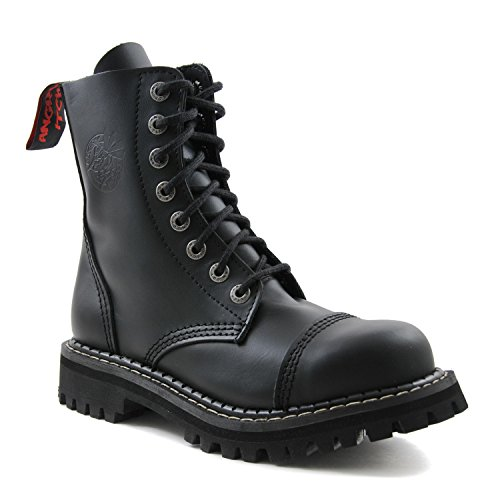 ANGRY ITCH - 8-Loch Gothic Punk Army Ranger Armee Leder Stiefel mit Stahlkappe