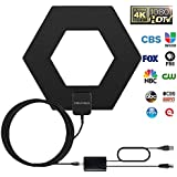HDTV Antenna, 50-80 Mile Range with Detachable Amplifier Signal Booster and 10ft High Performance Coax Cable Upgraded Version Newest Design Better Reception 4K Ready, Free tv for Life