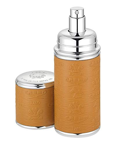 Logo Etched Leather Atomizer, Silver/Camel 1.7 ounces / 50mL