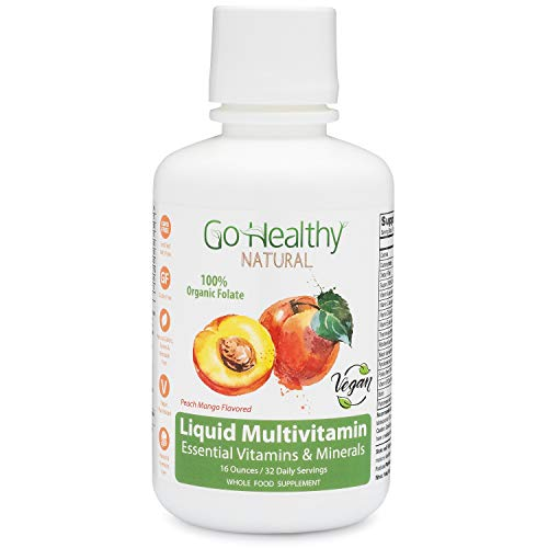 Go Healthy Natural Liquid Multivitamin with Organic Folate, Vegan, Fruit & Plant-Based Whole Food 32 Servings, Benzoate Free, Non-GMO, Gluten Free