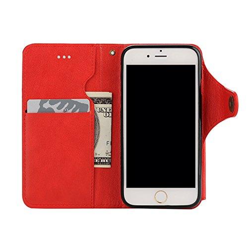 para iPhone 7 Wallet Phone Case, Vandot Premium PU Cuero Caja del Teléfono de la Carpeta con Desmontable TPU Bumper Phone Shell y Ranuras Tarjeta de Crédito y Makeup Mirror Multifuncional Mano Bolsa p JZPT 01