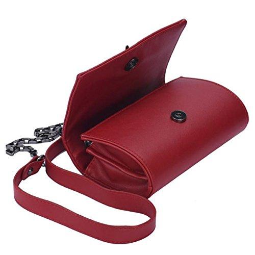 Colorful(TM) Mädchen Leder Mini kleine Feder Metall Kette Schultertasche Handtasche Messenger (GY) RD G105ql5m