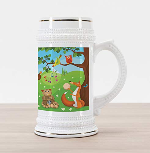 Ambesonne Hedgehog Beer Stein Mug, Open Air Concert in Forest Instrument Playing Bear Rabbit Fox and Tweeting Bird, Traditional Style Decorative Printed Ceramic Large Beer Mug Stein, Multicolor