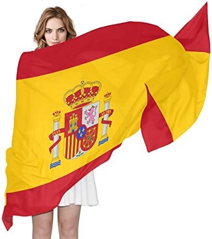 Bufanda de gasa sedosa para mujer con bandera de España para mujer ...