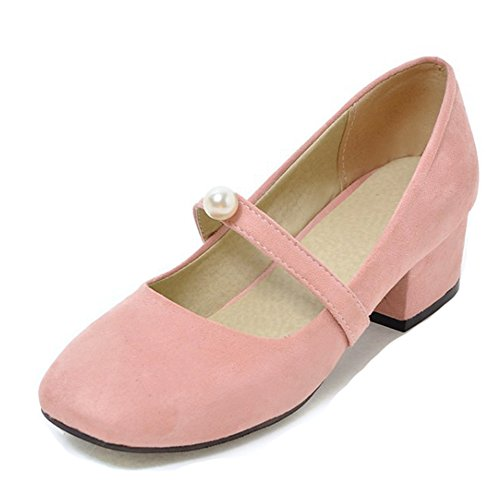 Aisun Da Donna Vintage Low Cut In Punta Squadrata Slip On Block Tacco Medio Mary-jane Pumps Shoes Rosa